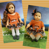 """American girl doll clothes Bitty Baby doll clothes RESERVED """"Go Longhorns!"""" (18 inch or 15 inch) University of Texas dress  hair clip"""