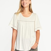 Eyelet-Trim Flutter-Sleeve Swing Top for Women | Old Navy