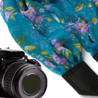 Flowers scarf camera strap. Green Camera Strap. Camera accessories. Camera strap for Canon, Nikon, Fuji & other cameras. Graet gift.