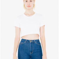 Fine Jersey Short Sleeve Cropped T-Shirt   American Apparel