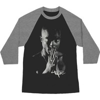 Tupac Men's  Pray Image Raglan Baseball Jersey Black & Grey