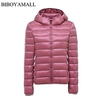BIBOYAMALL Women Ultra Light Down Jacket Hooded 90% Winter Duck Down Jackets Women Parka Zipper Coats Plus Size XXXL Pink Black