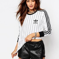 adidas Originals Adicolour Long Sleeve Top With 3 Stripe Logo & Stripes