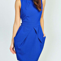 Blue Sleeveless Work Dress Pockets Zipper Dress