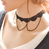 forever21 choker Jewelry New Arrival Shiny Gift Stylish Crochet Innovative Ladies Lace Gemstone Faux Gem Pendant Necklace [7786547911]