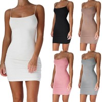 Zogaa Women Summer Sexy Sleeveless Evening Party Casual Backless Strapless Spaghetti Strap Bandage Bodycon Beach Short Dress