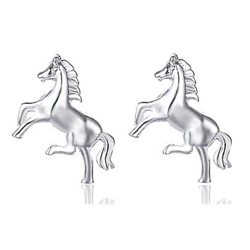 Little Horse Silver Stud Petite Earrings for Woman Gift for The Horse Lover Birthday Holiday