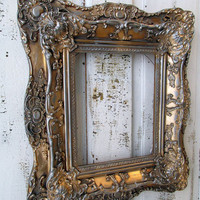 Antique ornate picture frame wood and gesso gold leaf gilded w/ pewter accent  French farmhouse heavy wall hanging decor anita spero design