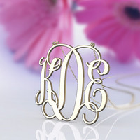 New monogram jewelry necklace plated in gold 1.5 inch initial name pendant personalized monogram