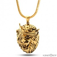 King Ice 14K Gold Solid Roaring Lion Necklace
