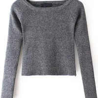 Grey Long Sleeve Cropped T-shirt