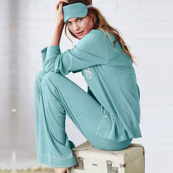 New autumn quality fashion 100% cotton long-sleeved solid color ladies homewear simple sexy pajama sets Winter women sleepwear