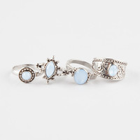 Full Tilt 4 Piece Antique Stone Rings Silver  In Sizes