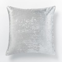 Faded Metallic Texture Pillow Cover - Silver