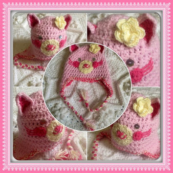 Hand Crochet Thick Snuggly Adorable Pink Kitty Cat Face w-Cream flower by Ears, ear flaps hat- Baby Newborn Infant Toddler Beanie Photo Prop