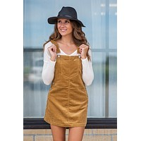 Through The Pumpkin Patch Overall Dress : Camel