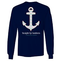 Itsa girl Thing Straight Up Southern Collection Anchor Girlie Bright Long Sleeves T Shirt