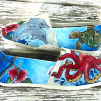 Custom hand painted TOMS, Under the Sea Octopus, Dolphins and Sea Turtles