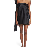 Strapless Silk Dress w/Oversized Back Tie, Black