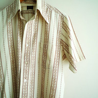 1970s Mens H.I.S. Short Sleeve Shirt Brown White Graphic Pattern
