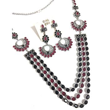 Bold oval stone embedded triple stranded stylish german silver long chain Necklace and Earring set