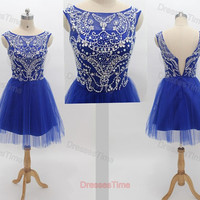 Royal blue homecoming dress short prom dress blue by dressestime