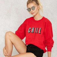 Letters Printed Loose Sweater B0013533
