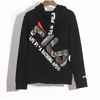 BAPE AAPE X FILA Trending Men Women Stylish Print Hooded Zipper Sweater Jacket Coat Black
