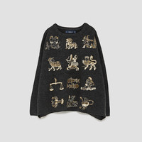 ZODIAC EMBROIDERY SWEATER DETAILS