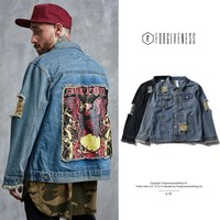 Denim Autumn Men Patchwork Jacket [362314792989]