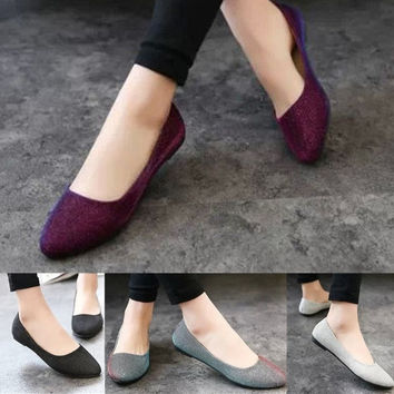 Candy Color Women OL Glitter Ballet Ballerina Flats Casual Slip On Loafers Shoes = 1958519300