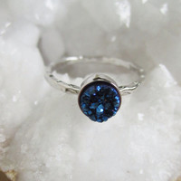 NEW Tiny Blue Druzy Ring Titanium Drusy Quartz Sterling Silver Hammered Band