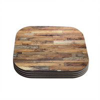 "Susan Sanders ""Campfire Wood"" Rustic Coasters (Set of 4)"