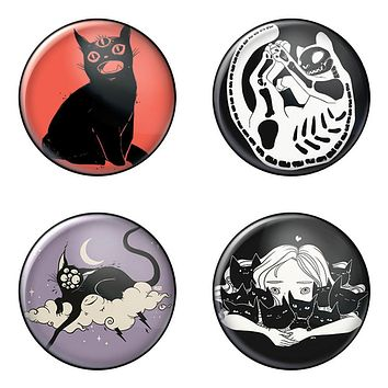 Cats, 4-Pack Pin Buttons