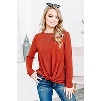 Long Sleeve Rust Knot Top
