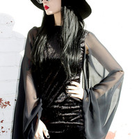 ADELE PSYCH 'Bewitch' Glam Goth Post- Punk style Black Velvet Mini Dress with Chiffon Bell Sleeves