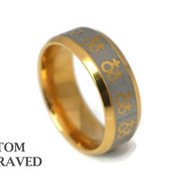 Engraved Stainless Gold Grey Ring - Personalized Lesbian Gay Prid Steel Ring - Stainless Steel Gay Pride Custom Ring - Lesbian Engraved Ring