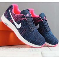 Nike men's and women's shoes knit fly line moon wear sports casual lightweight casual shoes F-SSRS-CJZX Blue+pink