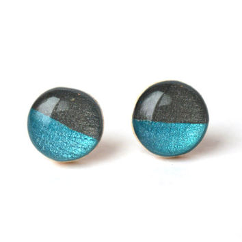 Two tone studs blue topaz and charcoal grey post earrings eco friendly jewelry earrings wood earrings spring jewelry for her