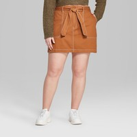 Women's Plus Size Belted Tie Utility Mini Skirt - Wild Fable™