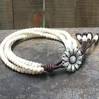Beaded Leather Wrap Bracelet/ White Seed Bead Wrap Bracelet/ Leather Bracelet/ Gift For Her/ Boho Wrap Bracelet/ Bohemian Bracelet.