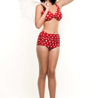 BEST SELLER! Vintage Inspired Swimsuit 50's Style Red Polka Dot Bikini - 6 to 16 - Unique Vintage - Homecoming Dresses, Pinup & Prom Dresses.