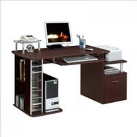 Complete Computer Workstation With Storage. Color: Chocolate