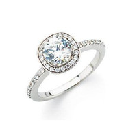 1/4 cttw Pave Diamond Halo Engagement Ring Setting in 14K White Gold