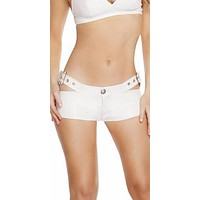 Sexy Faux Leather Low Rise Shorts With Cut Out Buckle Belt