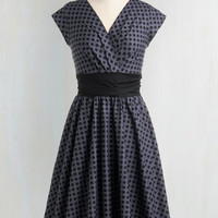 50s Long Cap Sleeves Fit & Flare Pretty on the Park Bench Dress in Dots