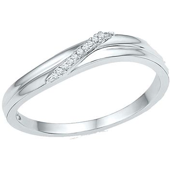 10kt White Gold Women's Round Diamond Simple Single Row Band Ring .03 Cttw - FREE Shipping (US/CAN)