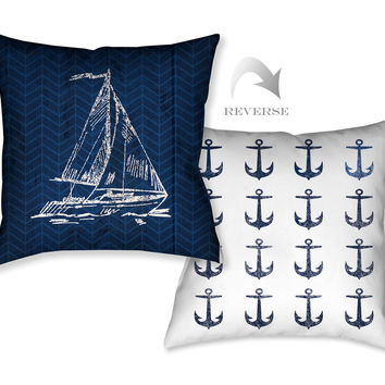 Navy Coastal Anchor Indoor Decorative Pillow
