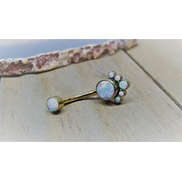 """Opal belly button ring 14g white opals cluster anodized titanium pick your color 7/16"""" length"""