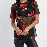 Floral Embroidered Mesh Tee | Charlotte Russe